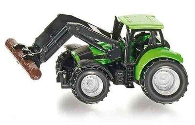 Deutz tractor met frontlader en boomstam grijper (schaal 1:87)