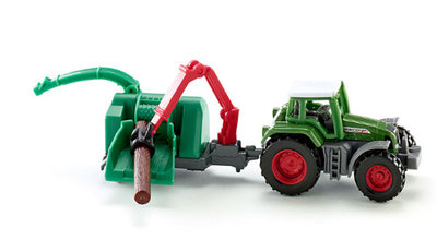 Fendt tractor met houtversnipperaar (schaal 1:87)