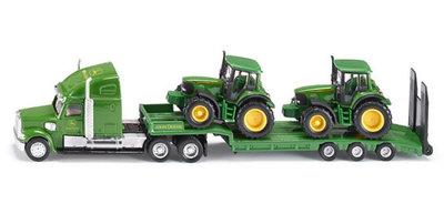Dieplader met John Deere tractors (schaal 1:87)