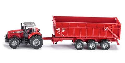 Massey Ferguson tractor met aanhanger (schaal 1:87)
