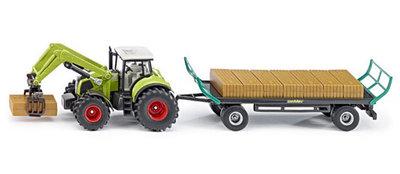 Claas tractor met balenklem en balenaanhanger (schaal 1:50)