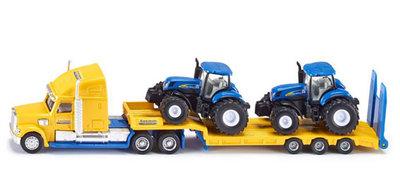 Siku vrachtwagen met dieplader en new holland tractoren